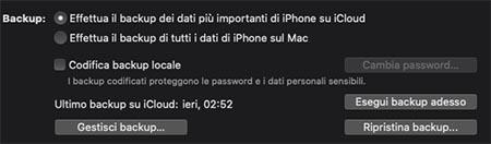 eseguire backup iphone con finder