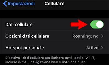iphone attivare dati cellulare