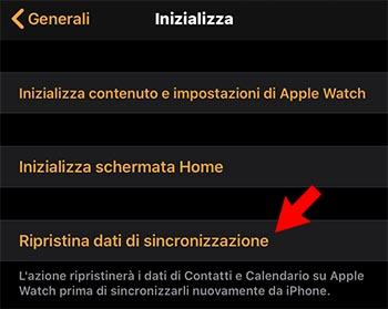 rirpistina dati di sincronizzazione apple watch