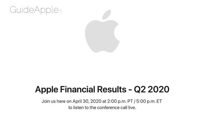 Apple annuncerà gli utili del secondo trimestre 2020 il 30 aprile