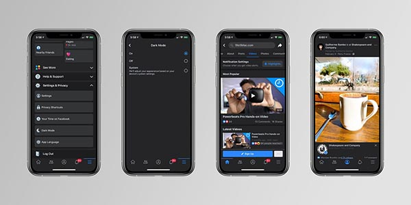 dark mode facebook ios