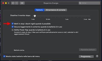 disattivare modalità standby macbook