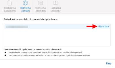 ripristinare contatti iphone con icloud