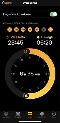 funzione sonno iphone