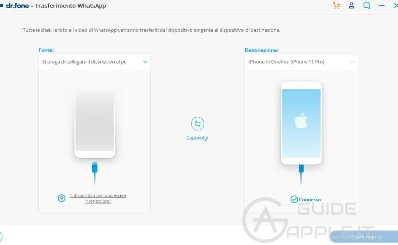 Trasferire Whatsapp da Samsung a iPhone