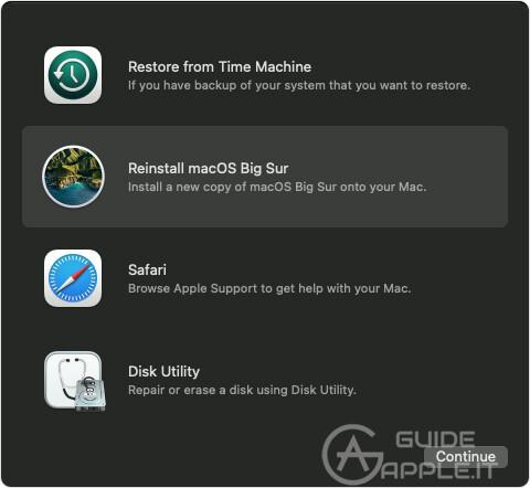 macOS Recovery M1 Mac - Reinstall macOS Big Sur highlighted