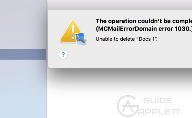 Problema Apple Mail – MCMailErrorDomain Errore 1030